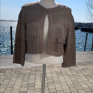 St John Couture Taupe/Silver Cardigan/Sweater 10